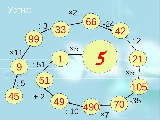 Устно: 45 9 99 33 66 42 21 105 70 490 49 51 1 5 : 5 ×11 : 3 ×2 -24 : 2 ×5 -35...