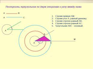 Построить треугольник по двум сторонам и углу между ними Строим прямую АМ; Ст
