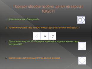 Порядок обробки пробної деталі на верстаті 16К20Т1 Установити режим «Покадров