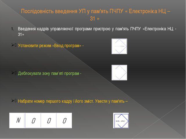 Послідовність введення УП у пам'ять ПЧПУ « Електроніка НЦ – 31 » Введення кад...