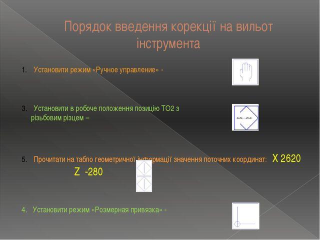 Порядок введення корекції на вильот інструмента Установити режим «Ручное упра...