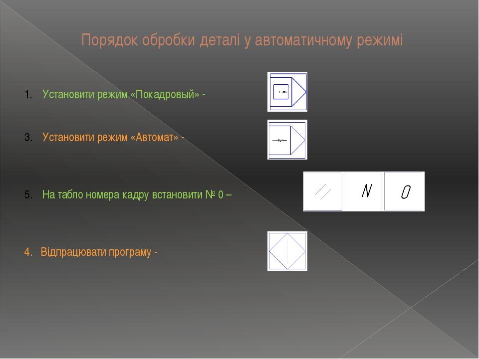 Порядок обробки деталі у автоматичному режимі Установити режим «Покадровый» -...