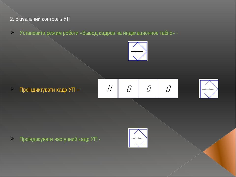 2. Візуальний контроль УП Установити режим роботи «Вывод кадров на индикацион...