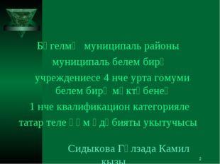 * Бөгелмә муниципаль районы муниципаль белем бирү учреждениесе 4 нче урта гом