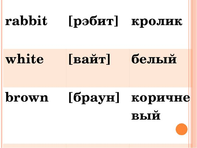 rabbit [рэбит] кролик white [вайт] белый brown [браун] коричневый pink [пинк]...