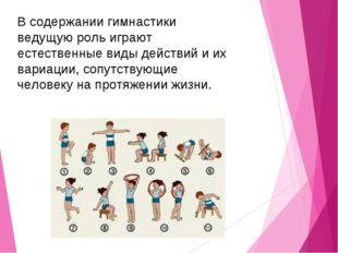 В содержании гимнастики ведущую роль играют естественные виды действий и их в