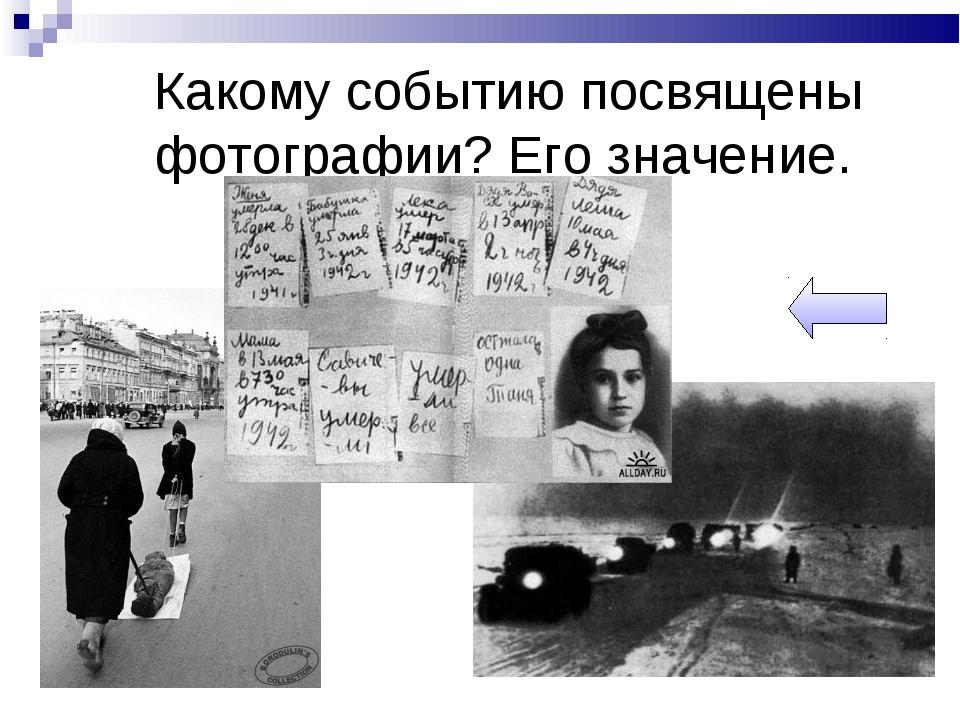 Какому событию посвящены фотографии? Его значение.