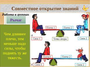 Совместное открытие знаний Работа в группах Рычаг Чем длиннее плечо, тем мень