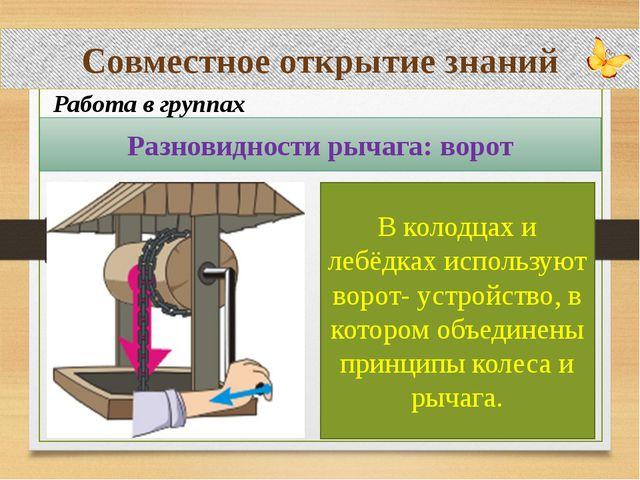 Совместное открытие знаний Работа в группах Разновидности рычага: ворот В кол...