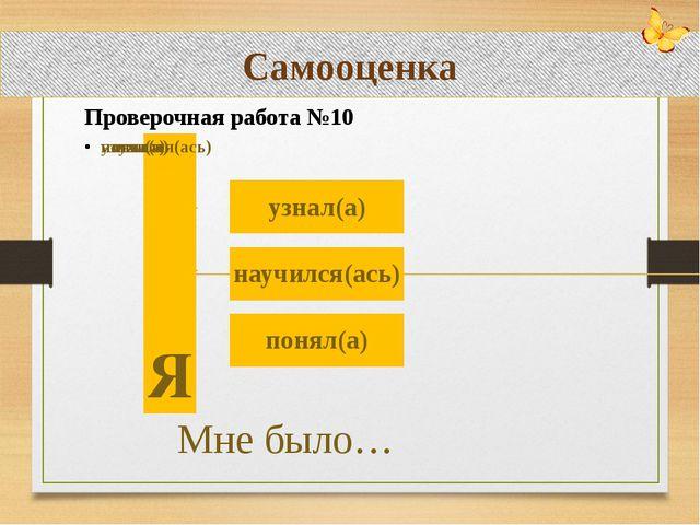 Самостоятельное применение знаний Проверочная работа №10 Самооценка