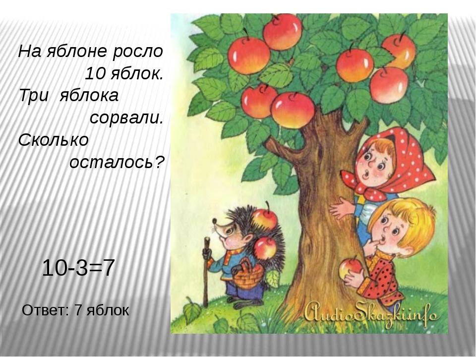 На яблоне росло 10 яблок. Три яблока сорвали. Сколько осталось? 10-3=7 Ответ:...