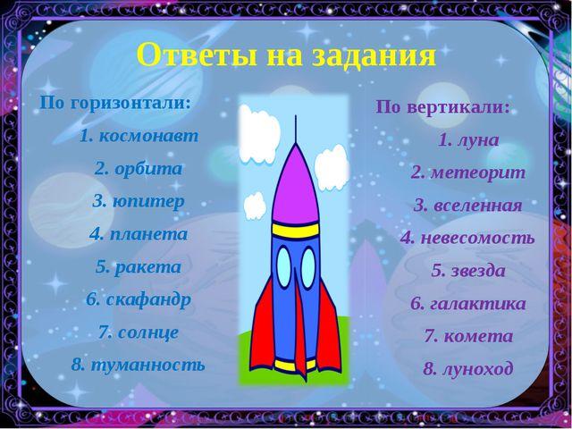 Ответы на задания По горизонтали: 1. космонавт 2. орбита 3. юпитер 4. планета...