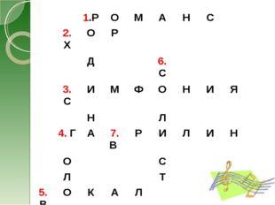 1.РОМАНС 2. ХОР Д6. С 3. СИМФОНИЯ НЛ