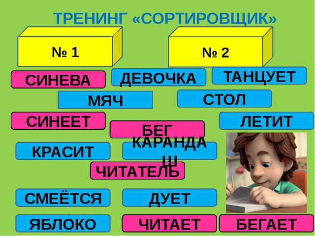 № 1 ДЕВОЧКА ТРЕНИНГ «СОРТИРОВЩИК» СИНЕВА БЕГАЕТ БЕГ СИНЕЕТ ЧИТАТЕЛЬ ЧИТАЕТ КА...