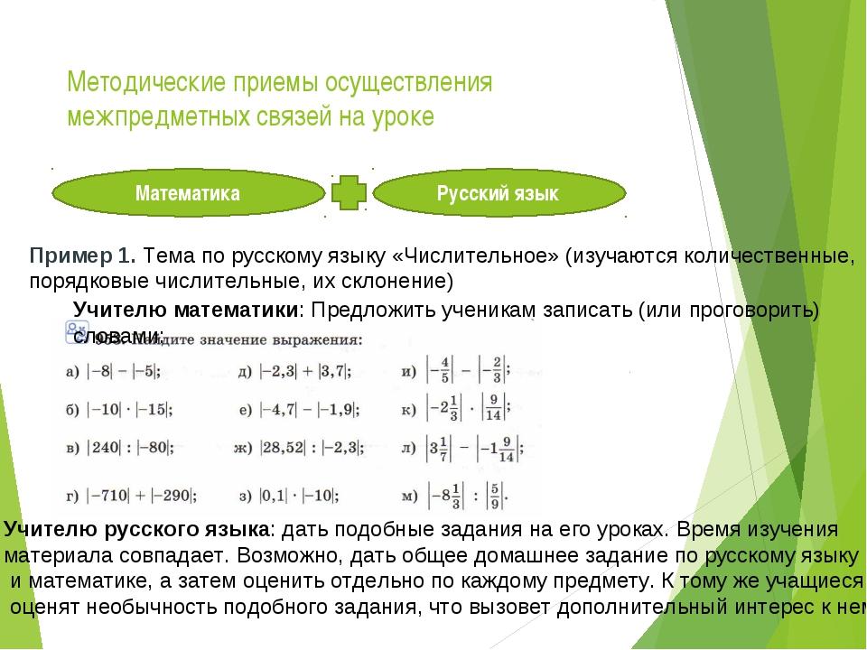 Методические приемы осуществления межпредметных связей на уроке Математика Ру...