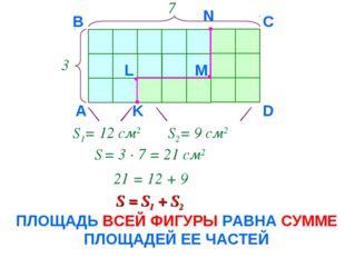 3 7 А B C D K L M N S1= 12 см2 S2= 9 см2 S = 3 · 7 = 21 см2 21 = 12 + 9 S = S