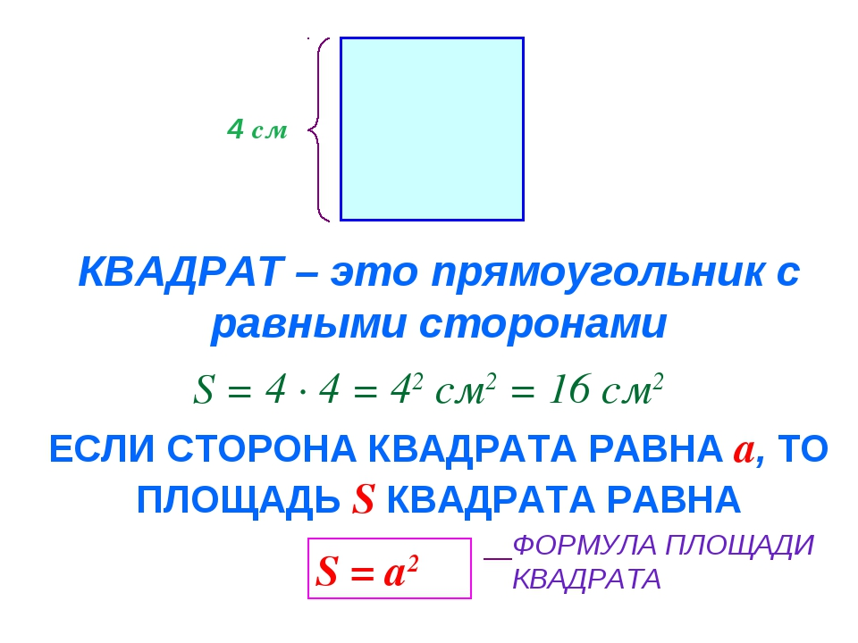 КВАДРАТ – это прямоугольник с равными сторонами 4 см S = 4 · 4 = 42 см2 = 16...