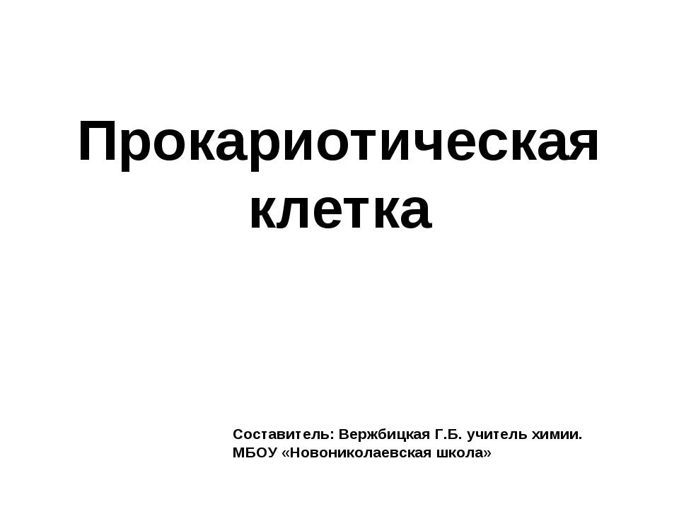Прокариотическая клетка Составитель: Вержбицкая Г.Б. учитель химии. МБОУ «Нов...