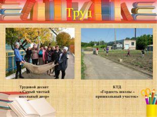 Труд Трудовой десант « Самый чистый школьный двор» КТД «Гордость школы – приш