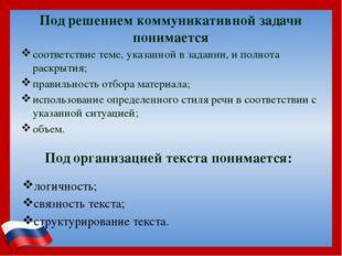Под решением коммуникативной задачи понимается соответствие теме, указанной в