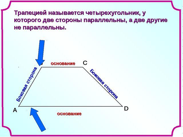 A В С D Боковая сторона Боковая сторона Трапецией называется четырехугольник,...
