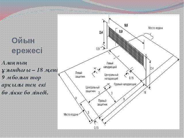Ойын ережесі Алаңның ұзындығы – 18 м,ені 9 м болып тор арқылы тең екі бөлікке...
