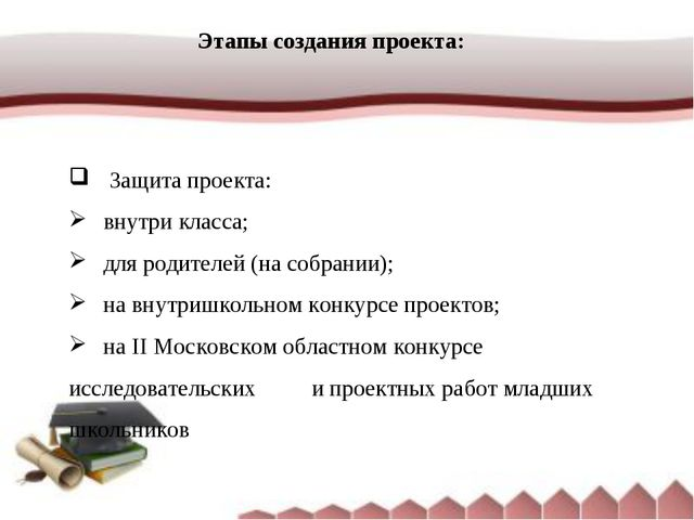 Этапы создания проекта:  Защита проекта: внутри класса; для родителей (на...