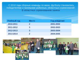 С 2010 года сборные команды по мини- футболу становились победителями и призе
