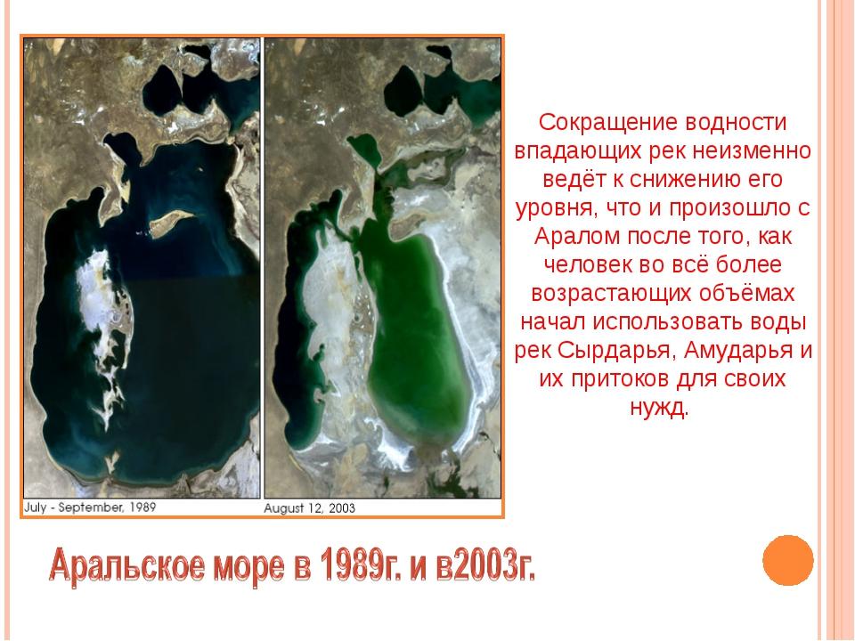 Сокращение водности впадающих рек неизменно ведёт к снижению его уровня, что...