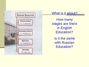 What is it about? How many stages are there in English Education? Is it the s