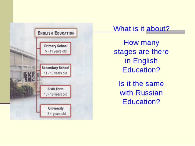 What is it about? How many stages are there in English Education? Is it the s...