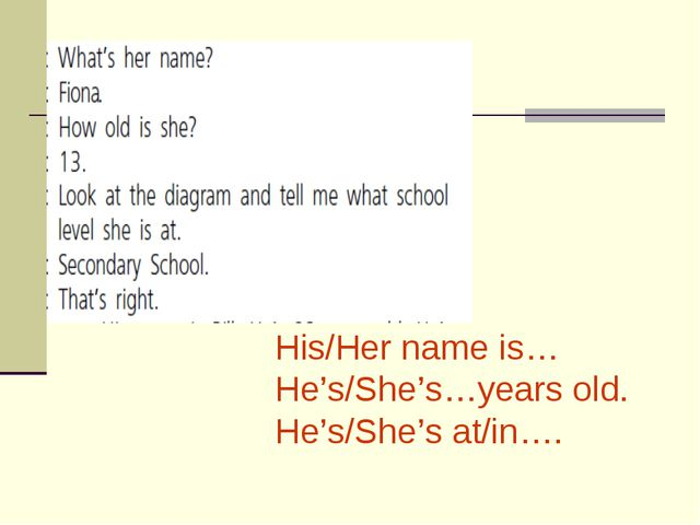 His/Her name is… He's/She's…years old. He's/She's at/in….