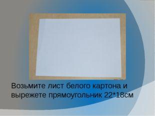 Возьмите лист белого картона и вырежете прямоугольник 22*18см Возьмите лист б