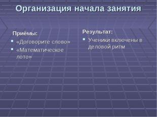 Организация начала занятия Приёмы: «Договорите слово» «Математическое лото» Р