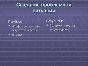 Создание проблемной ситуации Приёмы: «Информационная недостаточность» «Цель»