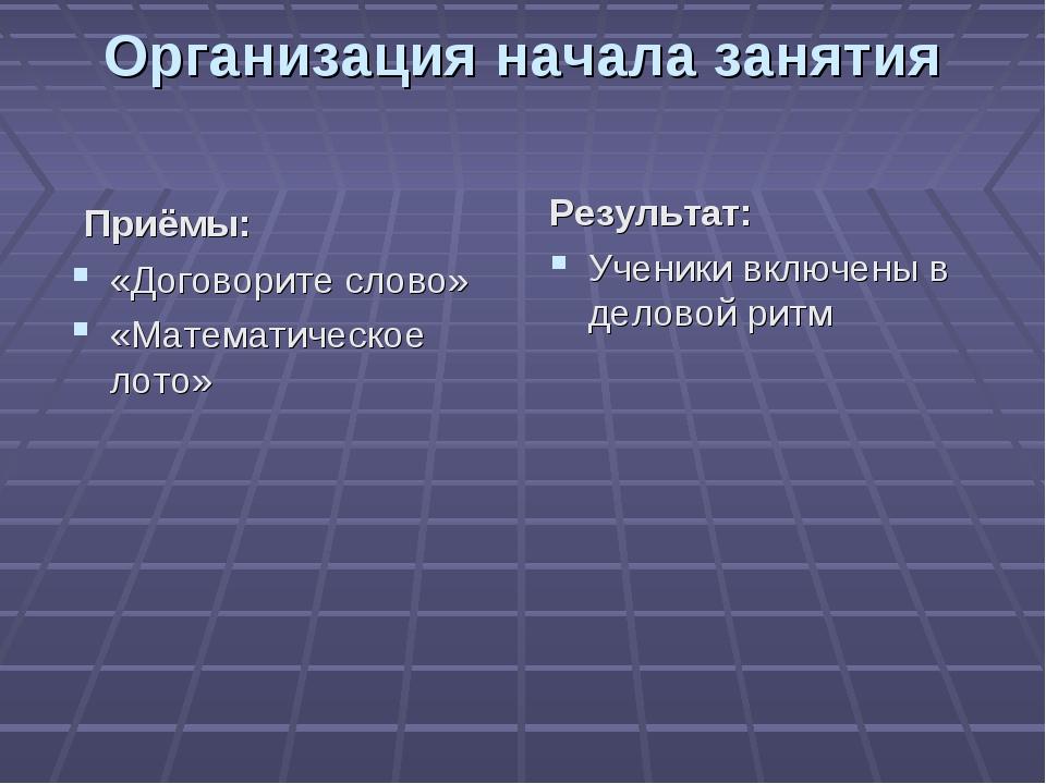 Организация начала занятия Приёмы: «Договорите слово» «Математическое лото» Р...