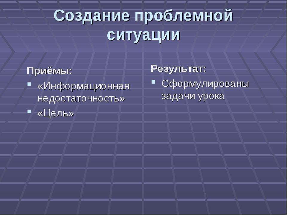Создание проблемной ситуации Приёмы: «Информационная недостаточность» «Цель»...
