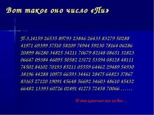 Вот такое оно число «Пи» П-3,14159 26535 89793 23846 26433 83279 50288 41971