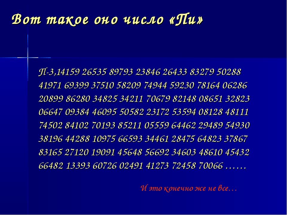 Вот такое оно число «Пи» П-3,14159 26535 89793 23846 26433 83279 50288 41971...