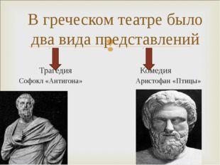 Трагедия Комедия Софокл «Антигона» Аристофан «Птицы» В греческом театре было