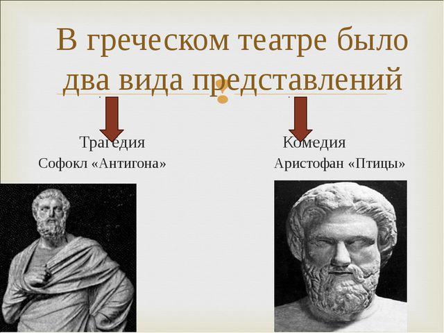 Трагедия Комедия Софокл «Антигона» Аристофан «Птицы» В греческом театре было...