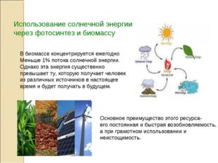 Использование солнечной энергии через фотосинтез и биомассу В биомассе концен