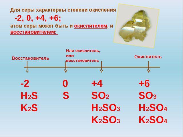 Для серы характерны степени окисления -2, 0, +4, +6; атом серы может быть и о...