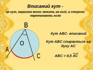 Вписаний кут - це кут, вершина якого лежить на колі, а сторони перетинають ко