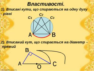Властивості. 2). Вписаний кут, що спирається на діаметр – прямий 1). Вписані