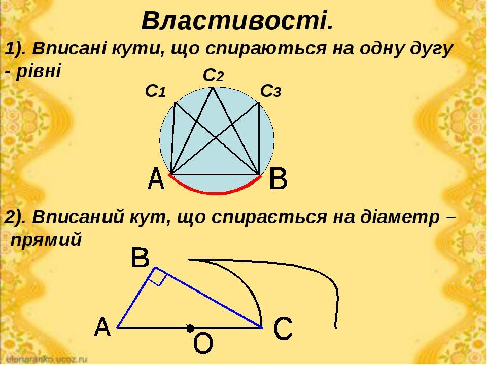 Властивості. 2). Вписаний кут, що спирається на діаметр – прямий 1). Вписані...