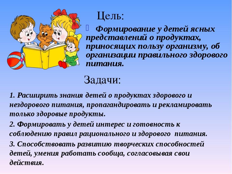 Цель: Формирование у детей ясных представлений о продуктах, приносящих пользу...