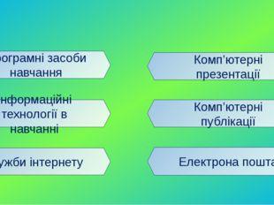Програмні засоби навчання Інформаційні технології в навчанні Служби інтернету
