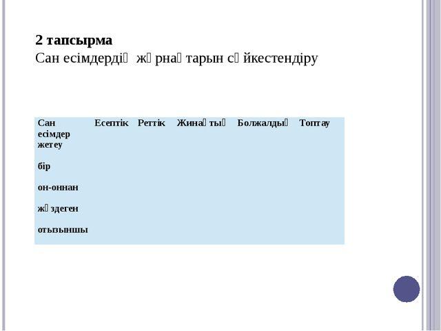 2 тапсырма Сан есімдердің жұрнақтарын сәйкестендіру  Сан есімдер Есептік Ре...