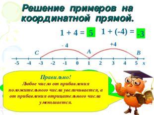 Решение примеров на координатной прямой. 1 + 4 = 1 + (-4) = А В +4 С - 4 5 -3